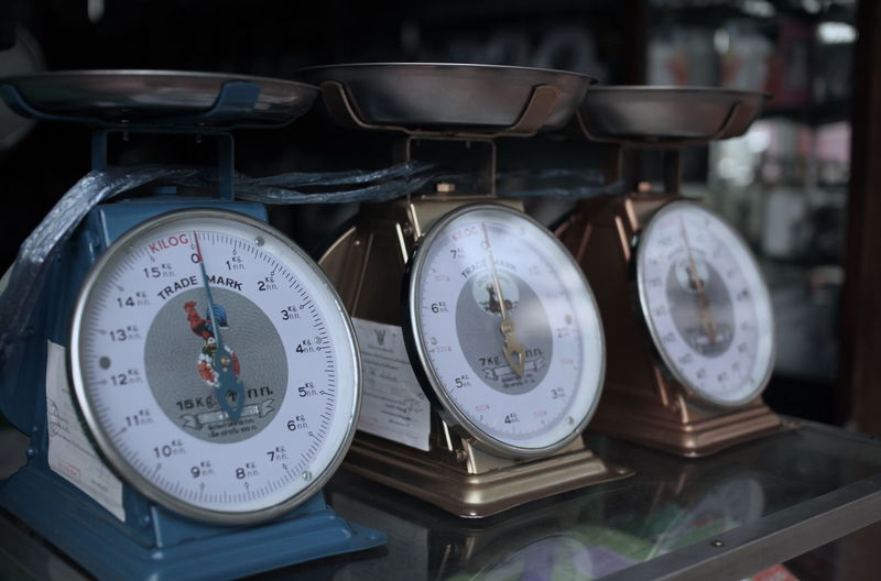 Close-up of weight scales on display cabinet at store