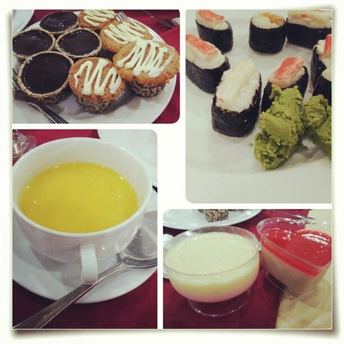 International Buffet Lunch Pumpkin soupjelly puddingcake sushi