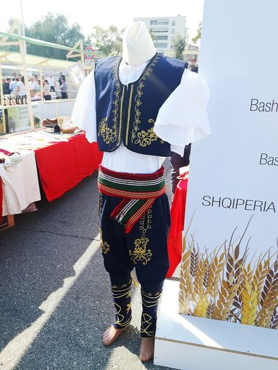traditional man costume from Berat Region Fair In The Street Traditional Clothing Culture And Tradition Tipical Clothes Travel Hobby Travel Destinations Holiday Tourist Destination People History Rear View Fashion Sky Mannequin Tourism International Landmark Visiting Civilization Clothesline Traditional Dancing