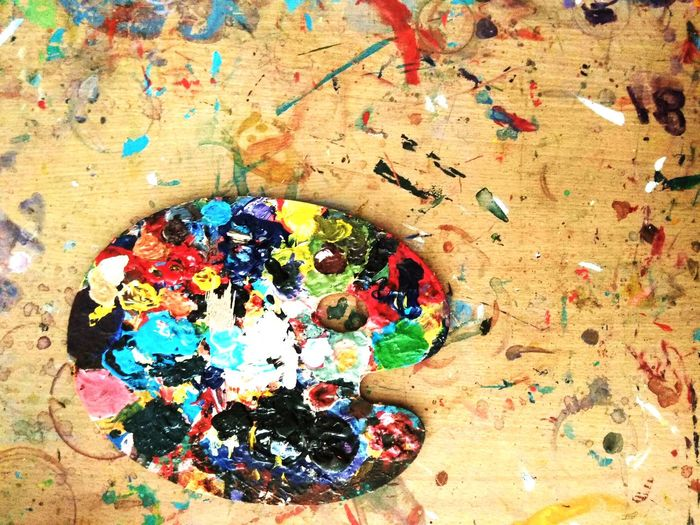 Paint Canvas Paintings Multi Colored No People Indoors  Close-up Day Ink