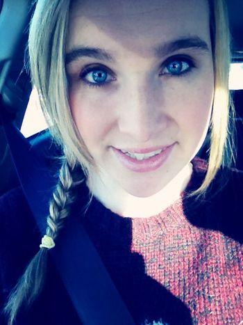 Car selfie Road Trip Selfie Blonde Blue Eyes
