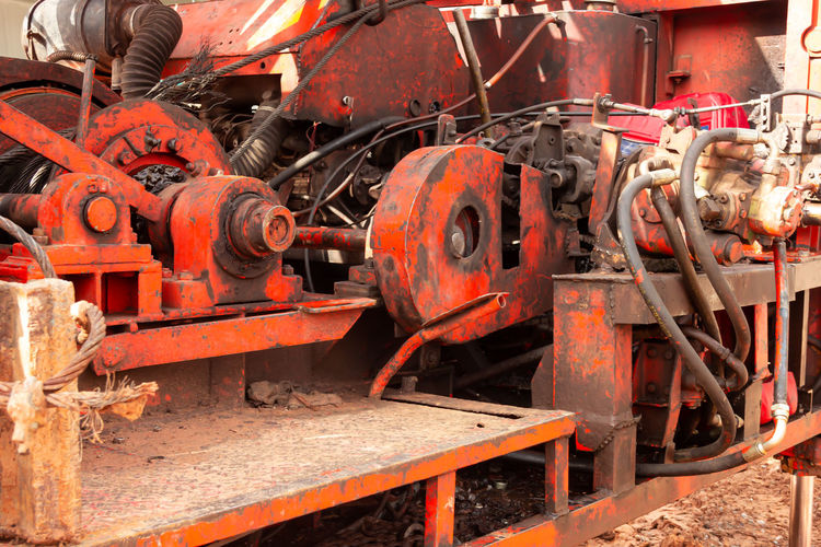 Close-up of old machinery