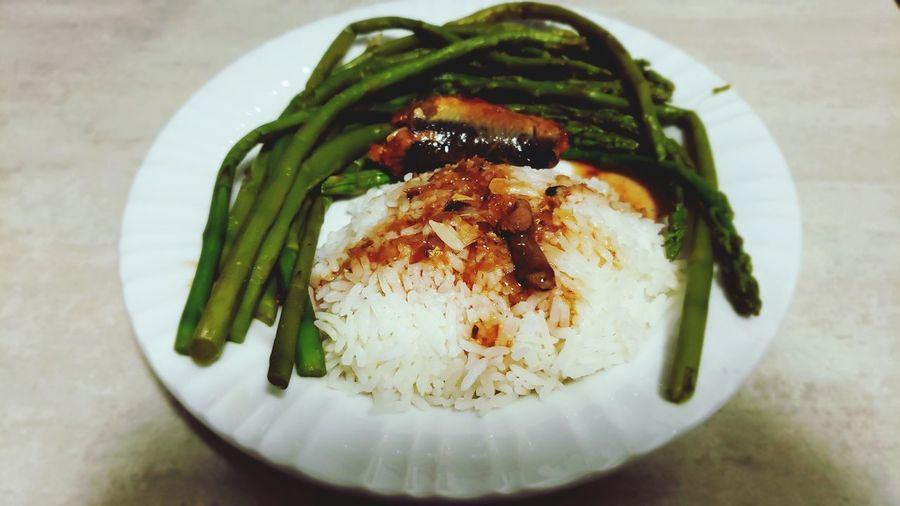 Yum-yum!😋 Dinner Appetite Be Healthy Sardinas-filipino Food Asparagus Vegetable Close-up EyeEmNewHere