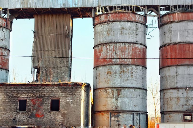 Building Exterior Built Structure Architecture No People Day Building Outdoors Nature Sunlight Rusty Industry Wall Low Angle View Window Abandoned Old Metal Weathered Sky Pattern