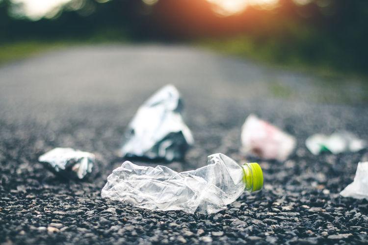 Asphalt Bag Bottle Close-up Garbage Outdoors Plastic Bag Pollution Road