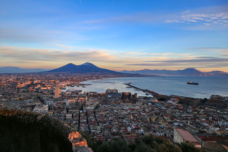 High angle view of city at seaside, naples italy 2019