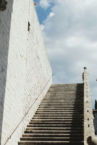 Travel Destinations History Architecture Steps Staircase Ancient Outdoors Low Angle View Day Sky Steps And Staircases Building Exterior Built Structure Cloud - Sky Ancient Civilization No People City Assisi