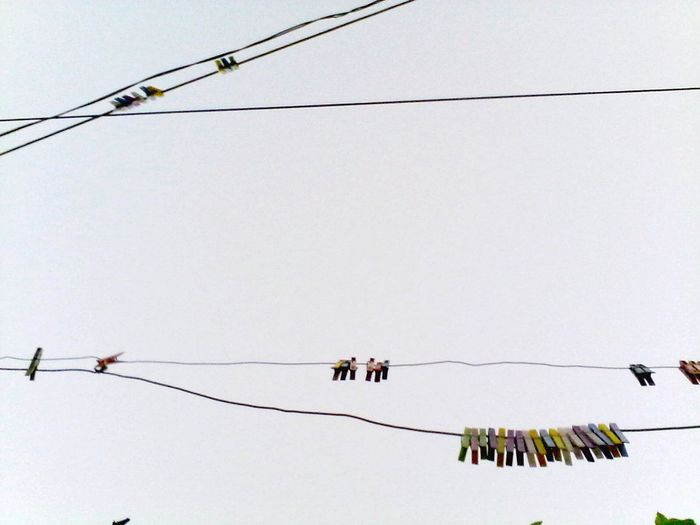 Nature No People Clothes Pins Looking Up Low Angle View Group Of Objects Clothespins Eyeemphoto Clothespin Eyeem Market @wolfzuachis Wolfzuachis Ionitaveronica Clear Sky Cable Outdoors Edited By @wolfzuachis Backyard Showcase: 2016 2016 Sky Colors Colorful Hanging Clear Sky