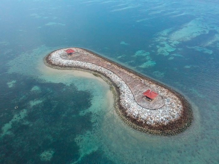 High angle view of artificial island in sea