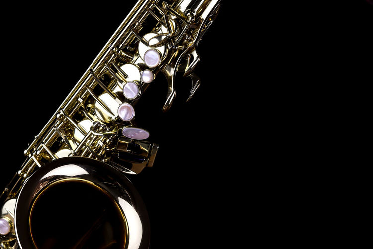 Music Instrument Alto Saxophone, Saxophone Isolated on black Music Musical Instrument Arts Culture And Entertainment Studio Shot Black Background Indoors  Metal Wind Instrument Musical Equipment Close-up Brass Instrument  Copy Space Brass No People Shiny Single Object Saxophone Still Life Cut Out Gold Colored Trumpet Silver Colored