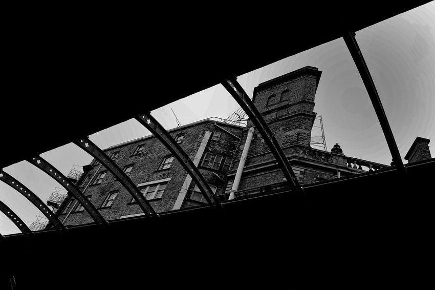 Looking up, at York Station. Open Roof Arch Architecture Arts Culture And Entertainment Building Building Exterior Buildings Built Structure Clear Sky Copy Space Day History Industry Low Angle View Metal No People Outdoors Sky The Past Train Station Transportation