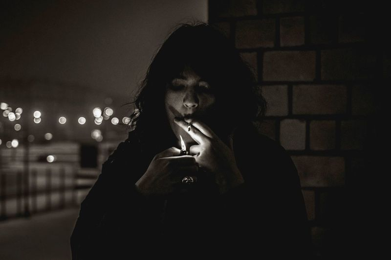 Night One Person Smoking Light And Shadow Darkness And Light Portrait