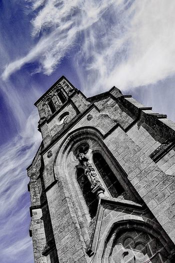 Low Angle View Sky Architecture Religion Cloud - Sky Spirituality Nikon Nikonphotography Monochrome Abbaye Cistercienne Notre-Dame de Timadeuc 1841.