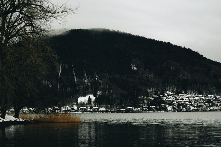 Tegernsee in winter Water Cold Temperature Mountain Waterfront Sky Scenics - Nature Beauty In Nature No People Nature Tranquility Tranquil Scene Lake Winter Lake Sea Lake View Winter Vacation Relaxing Calming Winter Wonderland Wintertime Cloudy Snow Snowing Tegernsee Snowcapped Mountain