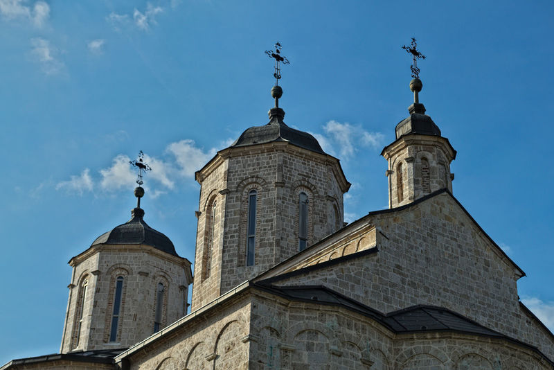 Three towers on church in monastery Kovilj, Serbia Christian Hope Monastery Architecture Building Exterior Built Structure Cross Day Dome Fate  History Low Angle View No People Orthodox Outdoors Place Of Worship Religion Sky Spirituality Tower Travel Destinations