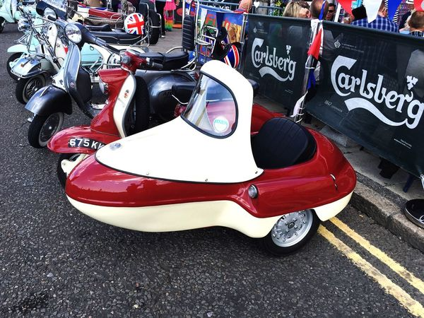 Scooter Sidecar - Brighton Mod Weekender 2018 Sidecar The Mods Vespa Scooter Brighton Mod Weekender The Mods High Angle View City Transportation Day No People Road Street