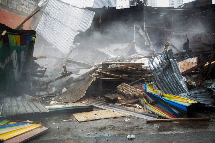 Slum Houses Being Demolished For Urban Renewal