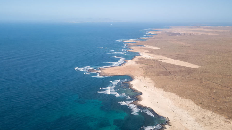 aerial view north coast of fuerteventura Water Sea Scenics - Nature Beauty In Nature Beach Aerial View Land Tranquil Scene Tranquility No People Nature Day High Angle View Blue Sky Idyllic Environment Outdoors Non-urban Scene Turquoise Colored