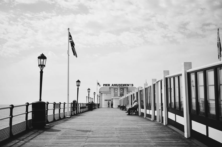 Pier Architecture Black And White Built Structure Cloud - Sky Day Diminishing Perspective Direction Flag In A Row Long No People Outdoors Sky Transportation
