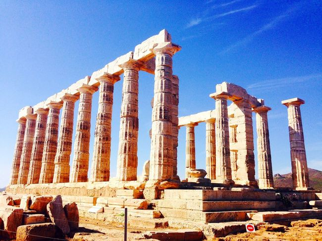 Back to ancient times - Poseidon's temple in Cape Sounion, 444 bC Old Ruin Ancient Archaeology Architecture Ancient Civilization History Tourism Travel Destinations Travel Monument Blue Sky EyeEmNewHere Greek Greece Holidays Summer Hot Cape Sounion Amazing View Wonderful Place Lovethis Picoftheday Travel Photography