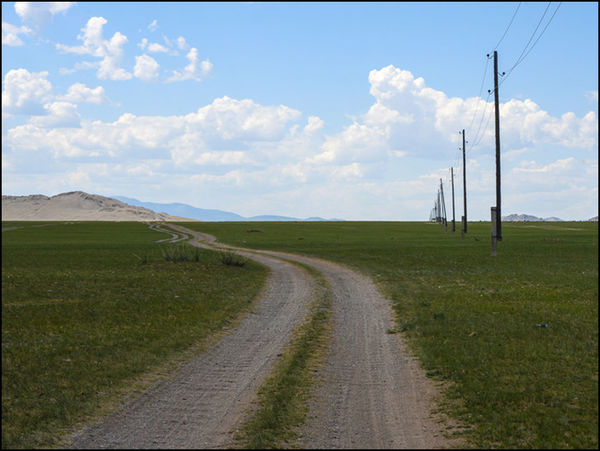 The road 3, Mongolia. blue sky. travel