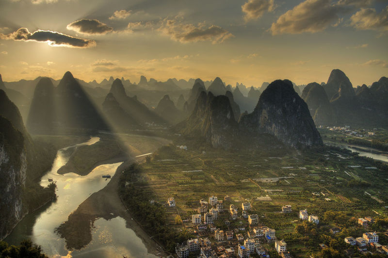 sunset from laozhai hill,xingping village,guangxi province China Day Discover  Explore Guangxi Province Hills Karst Mountain Landscape Laozhai Laozhaishan Li River Lijiang Limestone Mountain Nature No People Outdoors Scenics Sunset Travel Xingping, China Yangshuo