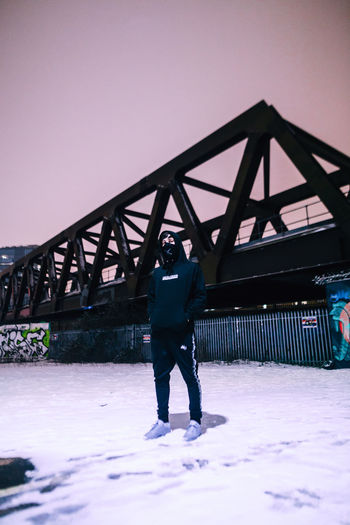 Check This Out Exploring EyeEm EyeEm Best Shots Graffiti London Taking Photos Winter Architecture Bridge - Man Made Structure Built Structure Clear Sky Cold Temperature Explore Full Length Nature Night One Person Outdoors Snow Standing Streetphotography Urban