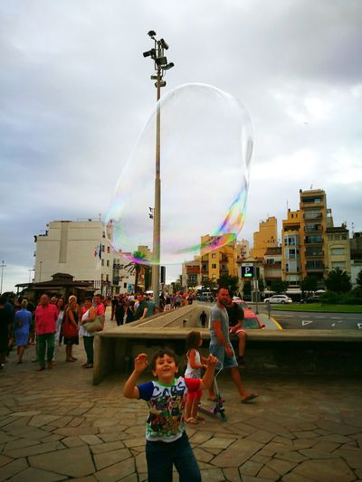 People Cloud - Sky Outdoors Celebration Smiling Crowd Day Cityscape City Cheerful Bubbles Bubbles In The Sky Childhood Child Boy HuaweiP9 Blanes BlanesTurisme Blanesturismo