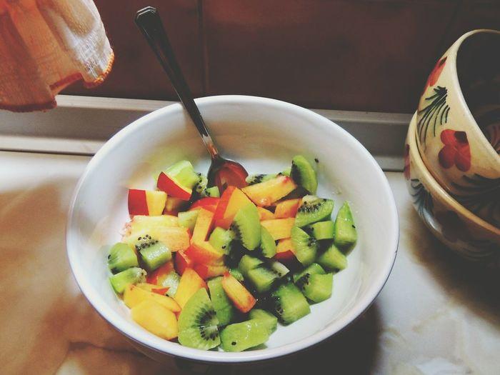 Do you wanna a treat? Dessert Fruit Kiwi Peach Bowl Happiness Fitmeal Fitness