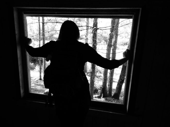 Monochrome Photography Women Who Inspire You Indoors  Window Standing Home Interior Transparent Silhouette Glass - Material Lifestyles Three Quarter Length Domestic Life Day Black And White Window Frame EyeEm Gallery EyeEm Best Shots Exceptional Photographs EyeEm Masterclass Wilderness WoodLand Outdoors Scenics Tranquil Scene Nature