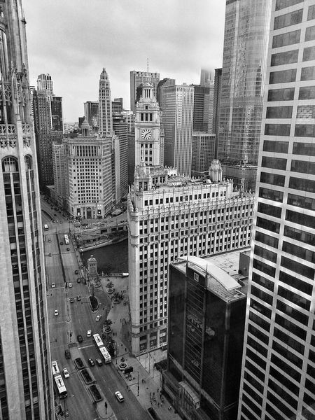 From the Tower Lounge on the 32nd floor... Tower Lounge InterContinental Downtown Chicago Wrigley Building Tribune Tower Monochrome Bw Chicago