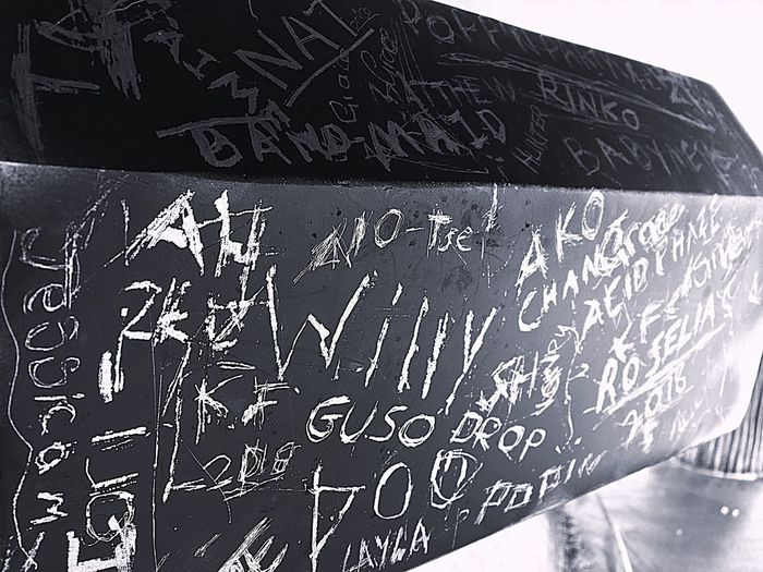 Low angle view of text on wall