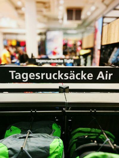 Shopping Sign Rucksack Outdoor Offer Retail  Retail Store Selective Focus Display Retail Display Backpack Backpacks German Language Travel Industry Reisen