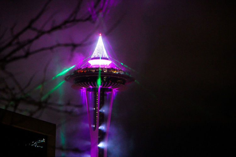 Illuminated Night Lighting Equipment Architecture Low Angle View No People Built Structure Glowing Decoration Copy Space Celebration Nature Purple Multi Colored Sky Building Exterior Outdoors Arts Culture And Entertainment Tree Building Ceiling Space Needle
