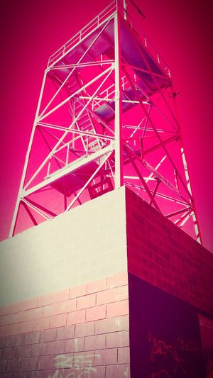 Red Built Structure Architecture Outdoors No People Day Close-up Non-urban Scene Treetrunk Patternsandtexture Textured  Low Angle View Through My Lens Australian Through My Lens Mobilephone Photography Backgrounds Australianphotographer Red Sky Tower Grafitti Millennial Pink