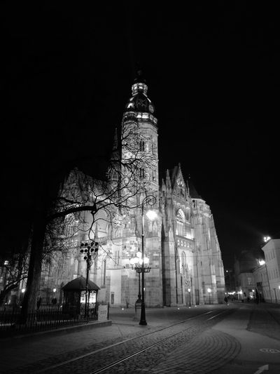 Night Travel Destinations Illuminated Architecture Blackandwhite Huaweiphotography HuaweiP9 Monochrome Dual Camera Leica_camera Slovakia Architecture Built Structure Košice Center Cathedral