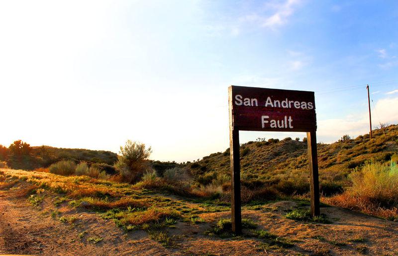 Communication EARTHQUAKES Fault Faultline Landscape Sunset Warning Sign Wilderness