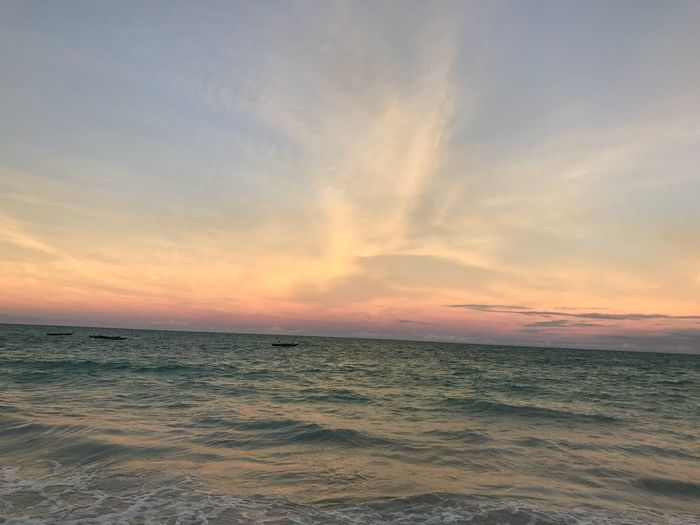 Sky Scenics - Nature Sunset Sea Beauty In Nature Tranquility Horizon Tranquil Scene Water Horizon Over Water Cloud - Sky Land Beach Nature No People Orange Color Remote Non-urban Scene Outdoors