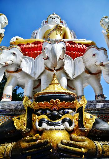 Rahu Monday with Idol Big-idol Giant Moon With Monday Blackandwhite Black And White Elephant Statue White Color Believe Buddhist Worship Pray Exorcise Outdoors No-people Canine Buddha Sky And Clouds Thailand