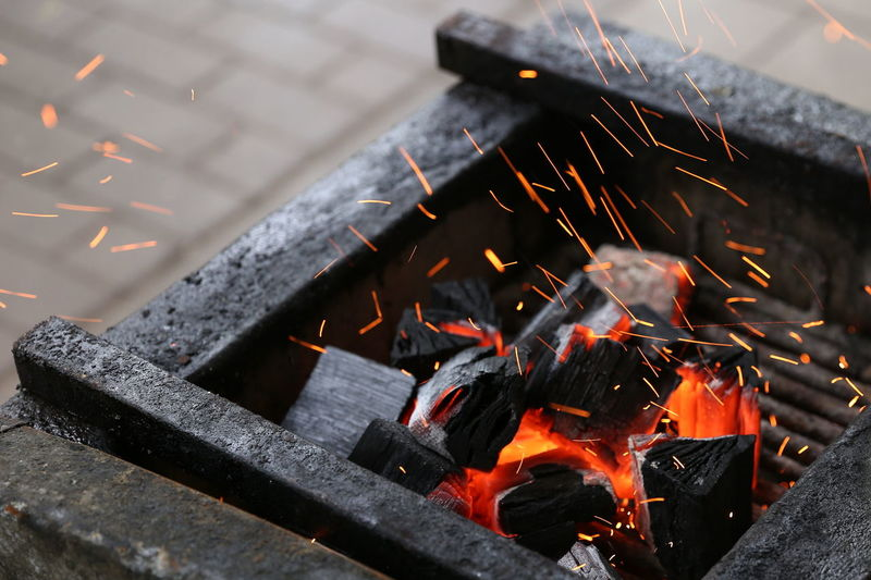 Fire - Natural Phenomenon Heat - Temperature High Angle View Nature No People Outdoors Wood - Material