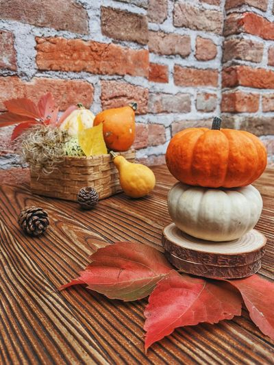 Close-up of pumpkins on wall