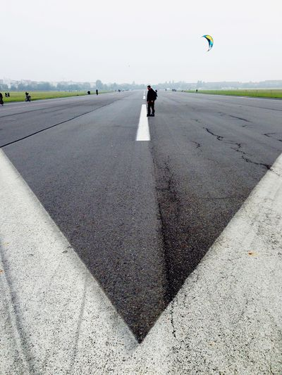 Berlin Airport Airport Runway Runway Cold Grey Grey Sky Tempelhofer Feld Kite Flying Park Green