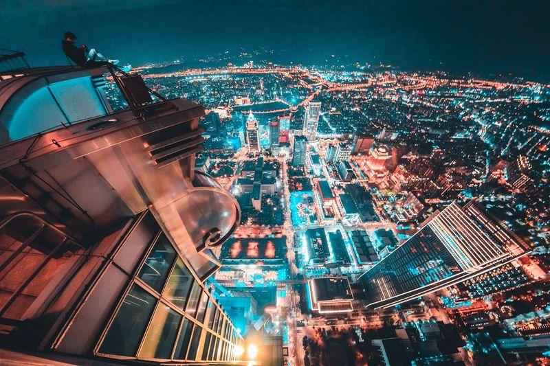 On the roof Rooftop Nightphotography Nightlights EyeEm Best Shots EyeEm EyeEm Taiwan Taiwan Architecture Building Exterior City Illuminated Built Structure Night Cityscape Building Crowd City Life Crowded