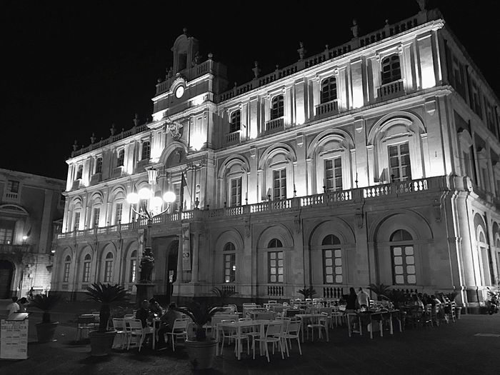 Catania Building Exterior Architecture Building Exterior Night Built Structure Illuminated Travel Destinations City Sky People Architectural Column Outdoors Be. Ready.
