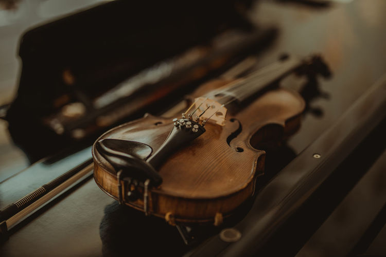 Close-up of violin on table