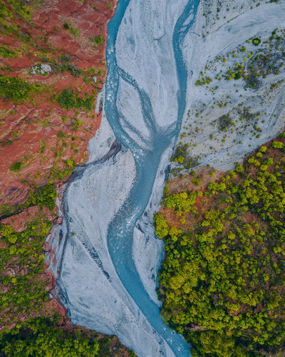 Aerial view of river by landscape