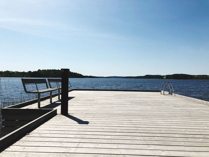 Clear Sky Pier Sunlight No People Wood - Material Railing Sea EyeEmNewHere The Great Outdoors - 2018 EyeEm Awards The Great Outdoors - 2018 EyeEm Awards
