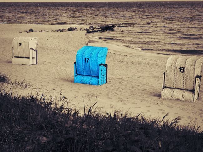 Baltic Sea Absence Architecture Beach Beauty In Nature Built Structure Day Germany Grass High Angle View Hooded Beach Chair Land Nature No People Outdoors Sand Sea Seat Tranquil Scene Tranquility Water