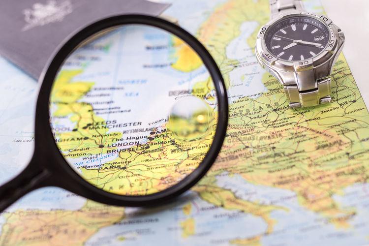 Map seen through magnifying glass