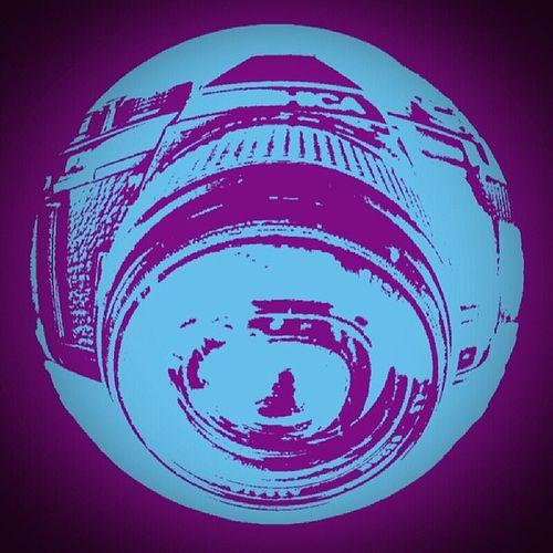 Popart Blue Purple Camera Yashica Fx3 Super 2000 Fisheye